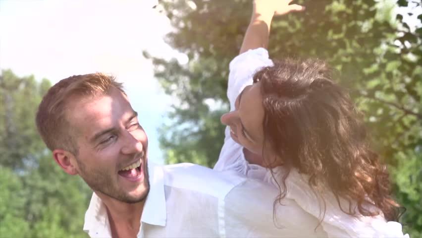 Happy Couple Having Fun Outdoors. Laughing Joyful Family. Freedom Concept. #4285640