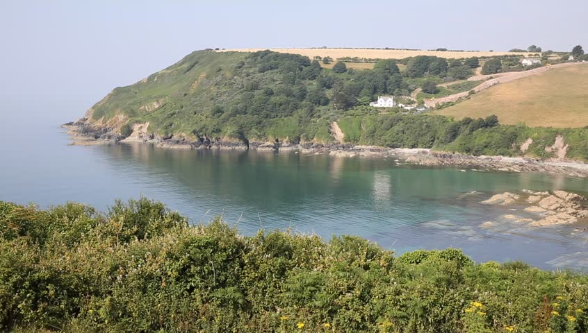 Talland Bay PAN between Looe and Polperro Cornwall England UK on a beautiful summer day