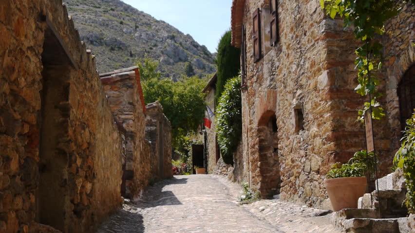 Street of Castelnou, Beautiful village in south France