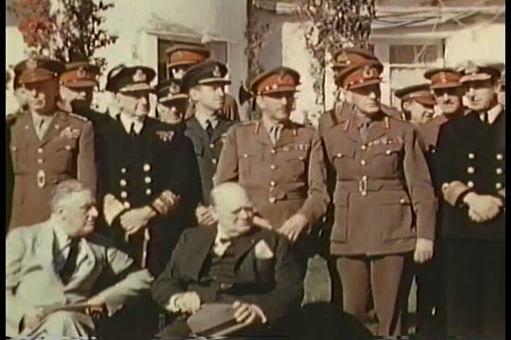 1940s - FDR visits Morocco for high level meetings with Allied strategists in World War Two. Good footage of Winston Churchill.