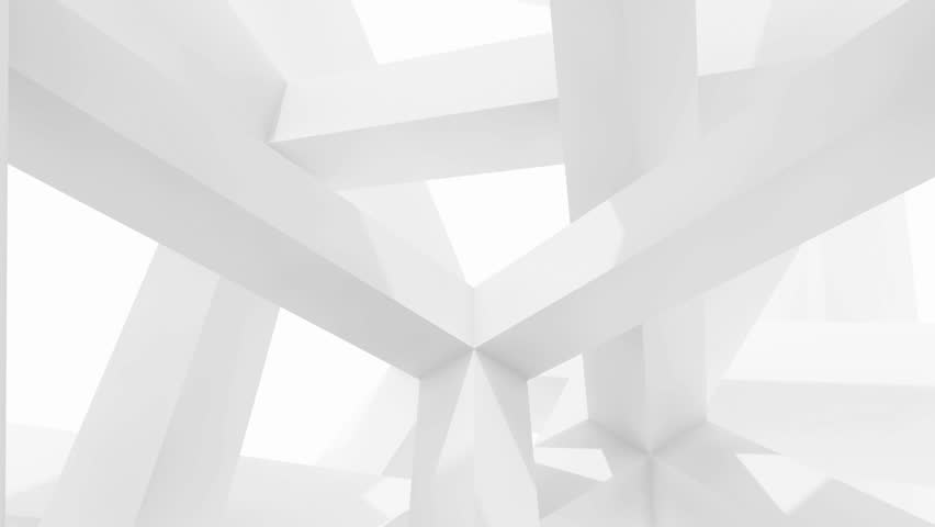 3d abstract architecture motion chaotic background. Inside of white rotating cube beam-type construction
