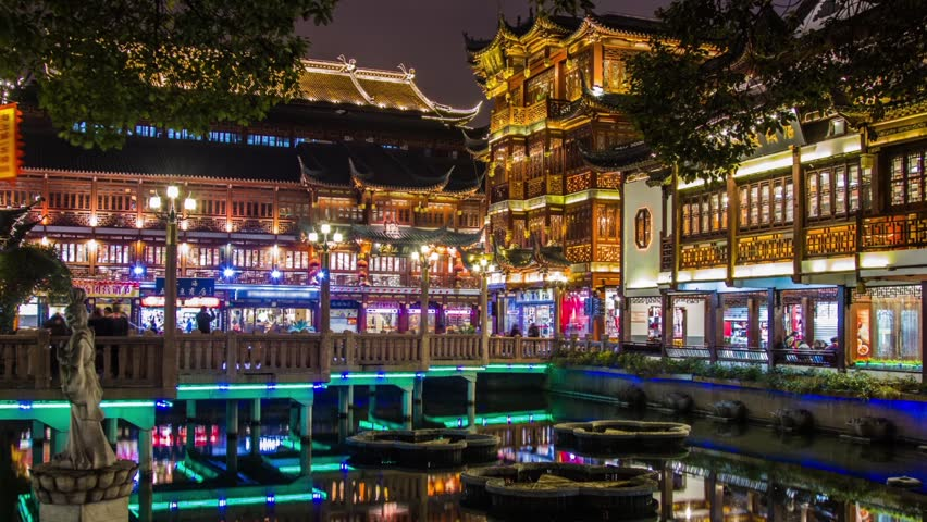 SHANGHAI, CHINA - FEBRUARY 2013: Time Lapse of lights turning off, closing at night in Yuyuen Garden in Shanghai, China