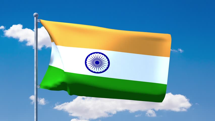 Indian Flag Animated: Indian Flag Waving Over A Blue Cloudy Sky Stock Footage