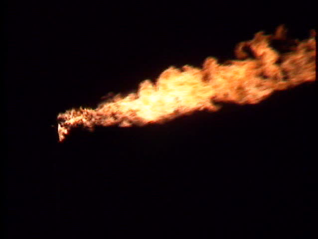 Gas flare - C - enormous flare, night - irus up iris down dramatic - SD stock video clip