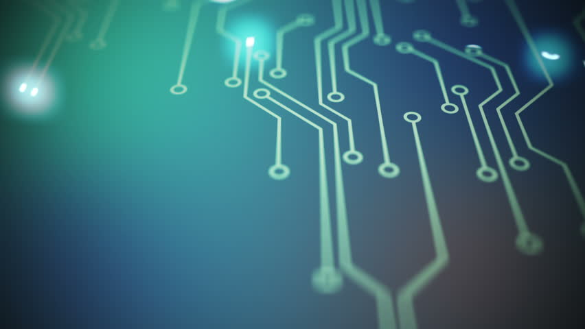 Lines drawn by bright spots eventually create an abstract image of a circuit board on a blue background. It may represent electronic connections, communication, futuristic technology.
