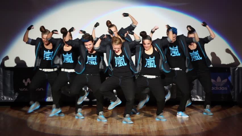 MOSCOW - APR 1: Tsu-nami team perform on stage during Hip Hop International - Cup of Russia 2012 in The Palace of Culture MSTU named after Bauman on April 1, 2012 in Moscow, Russia.