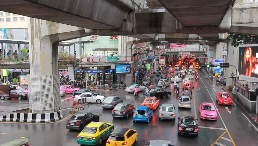 BANGKOK, 13 JUNE:Traffic in central Bangkok on Siam Square., on 13 June 2013 in Bangkok, Thailand - HD stock footage clip