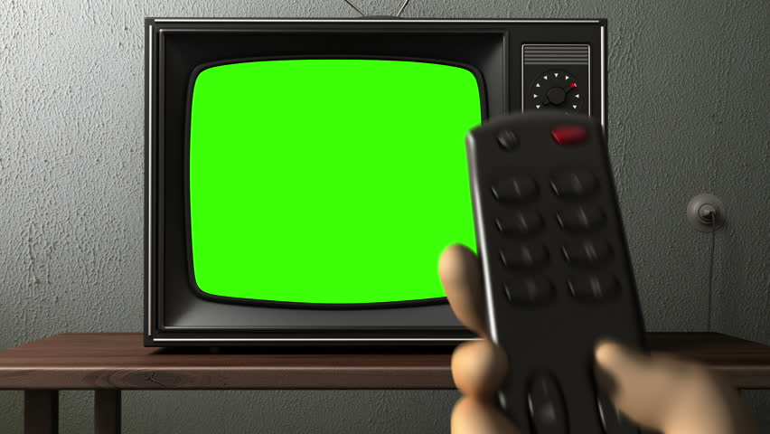 old TV. switching channels with remote control. 3d animation