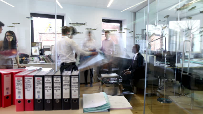 Time lapse of attractive fashionable young professionals at work in busy office | Shutterstock HD Video #4391498