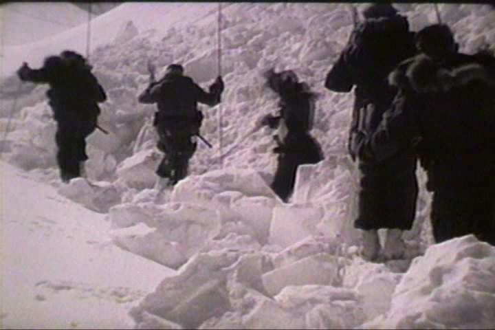 1960s - A military film about avalanche dangers. - SD stock video clip
