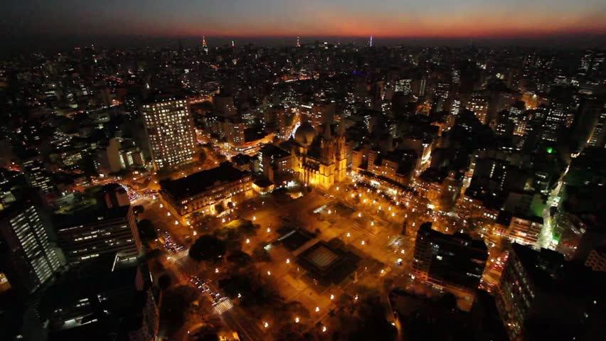 Sao Paulo Brazil city night skyline street aerial view dusk