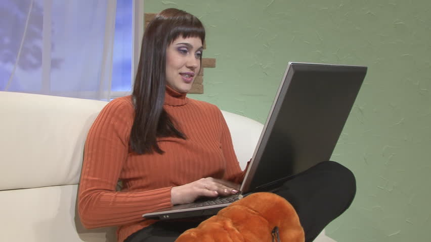 girl and laptop - HD stock video clip
