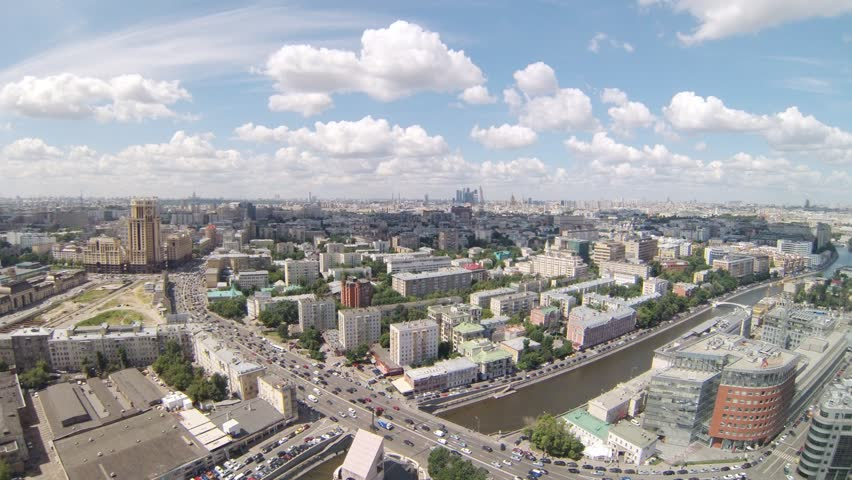 Beautiful aerial view of city with river during the day, timelapse #4405736