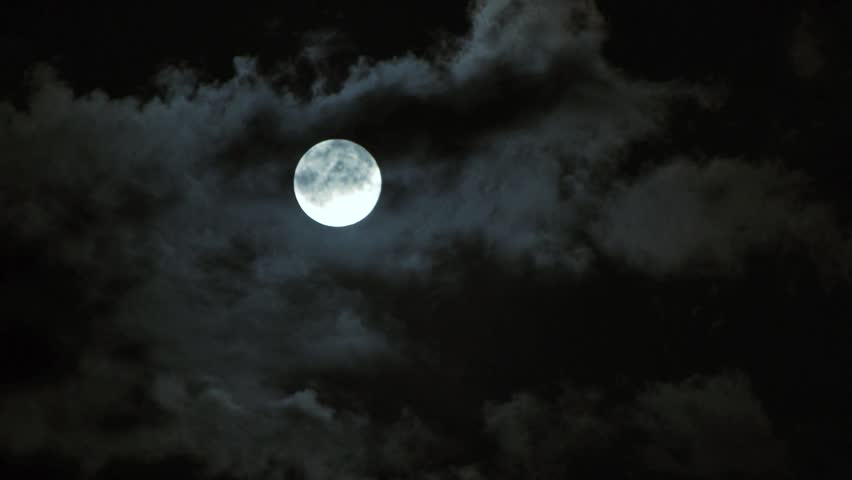 full moon and clouds. time lapse - HD stock video clip