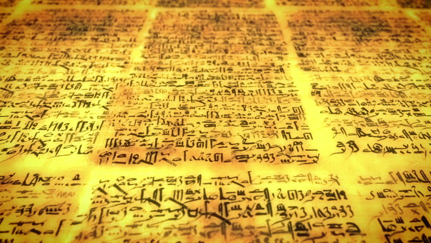 Ancient script, old scroll with unknown letters, pan fly over