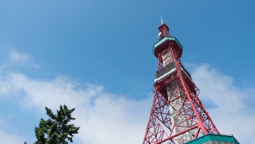 SAPPORO, JAPAN - AUGUST. 10 : Time lapse of Sapporo TV Tower on August 10, 2013