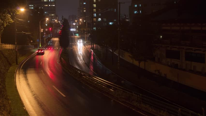 Time lapse of night traffic