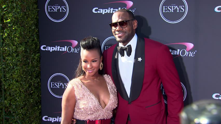 LOS ANGELES - July 18, 2013: LeBron James and Savannah Brinson at the ESPY Awards 2013 in the Nokia Theatre in Los Angeles July 18, 2013 - HD stock footage clip