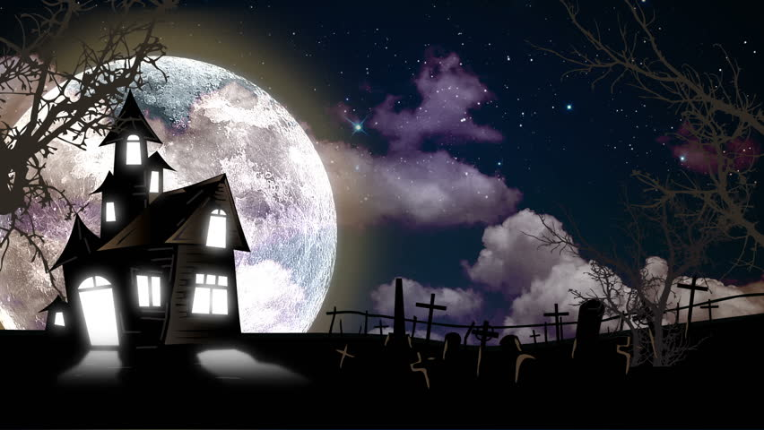 Spooky Halloween haunted house animation with full moon and graveyard