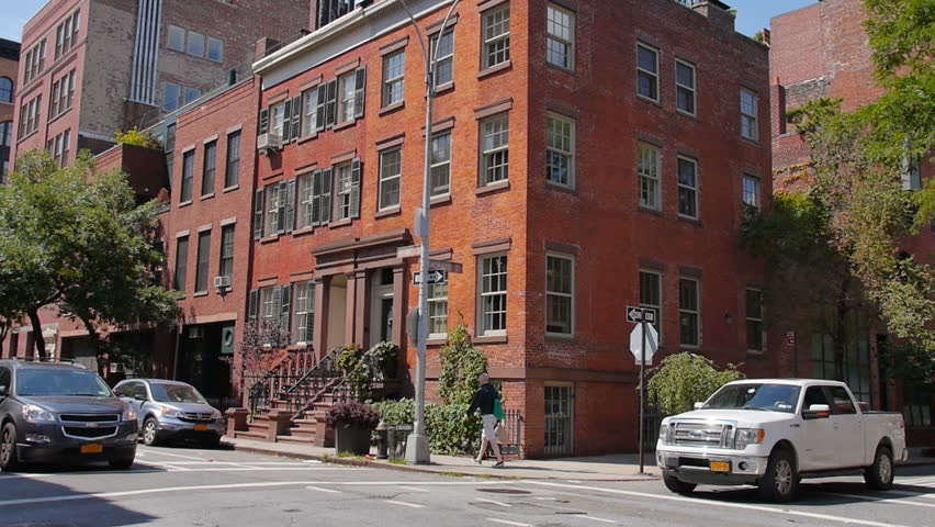 A Typical Daytime New York City Apartment Building Establishing Shot.   HD  Stock Footage Clip