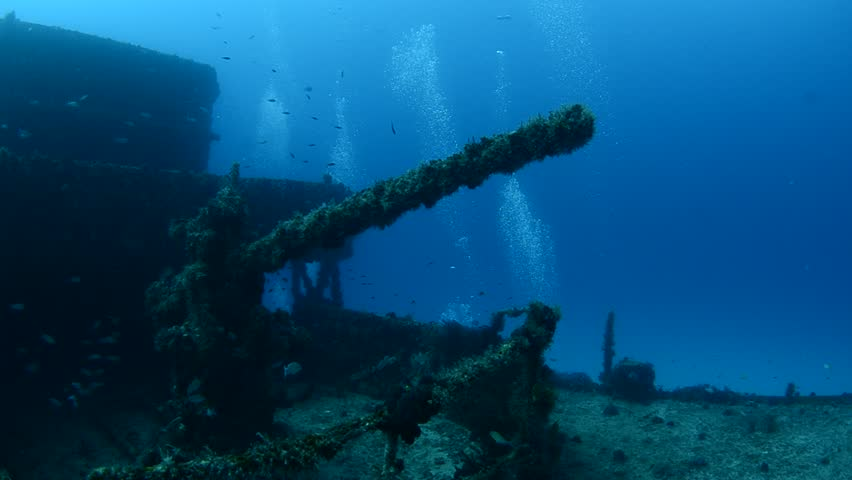 Caribbean shipwreck. - HD stock footage clip