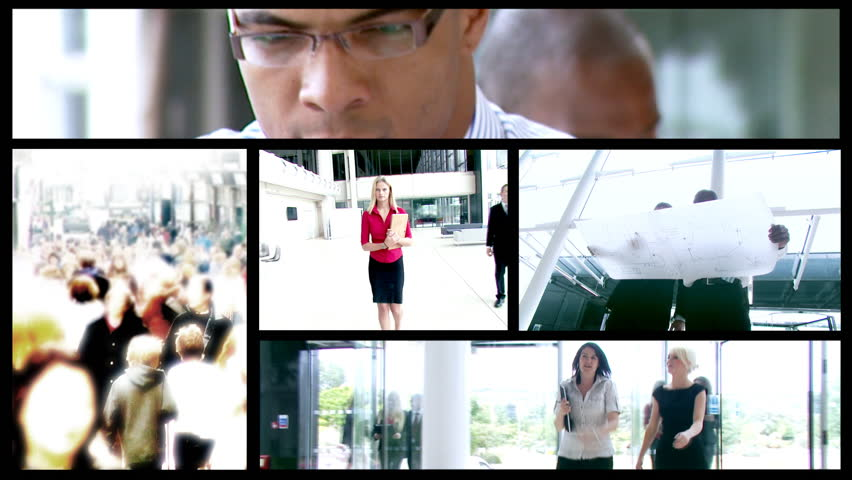 Montage of business people working in modern office building