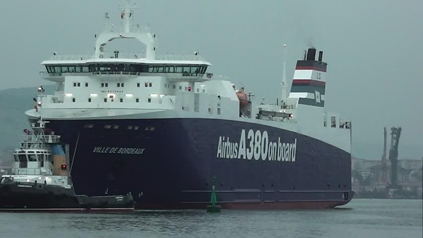 EL ASTILLERO, SPAIN - AUG 23: RORO VILLE DE BORDEAUX at EL ASTILLERO dockyard, 08/23/2013. - HD stock video clip