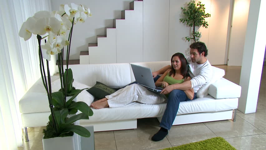 Romantic Couple In The Bedroom Lovers Spending Time Together In Their Contemporary Home High