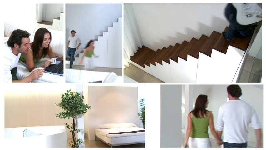 Montage of happy young couple in their luxury home