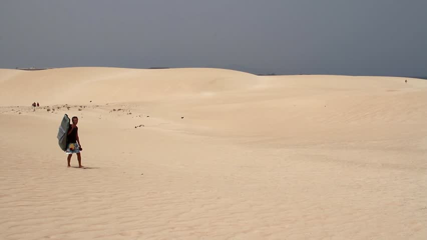 Walkers on sand dune - HD stock video clip