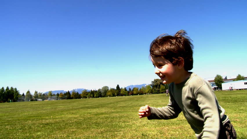 Little boy running outside - HD stock video clip