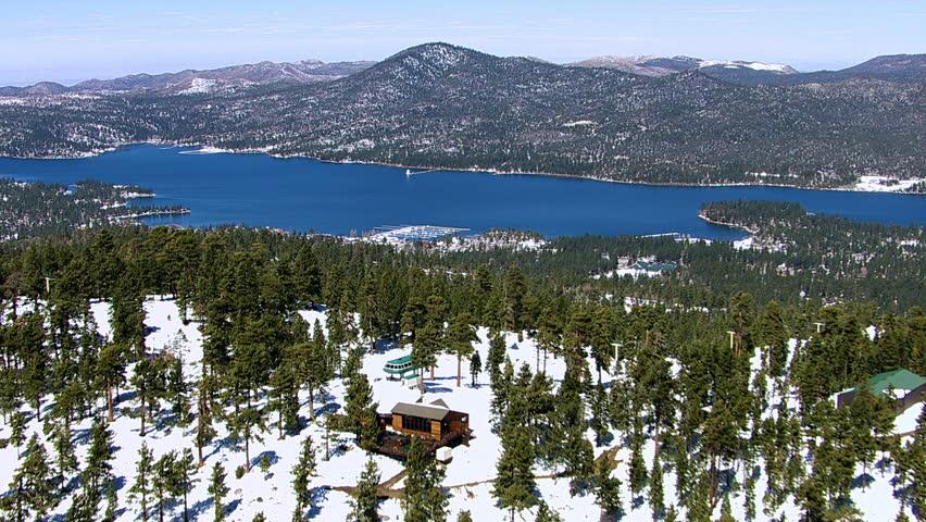 Aerial shot of Big Bear Lake, California