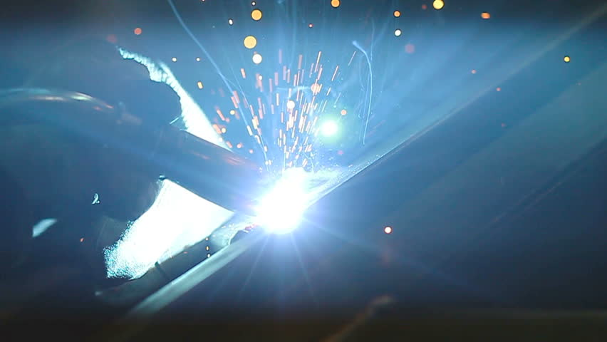 Close-up view of a welding process