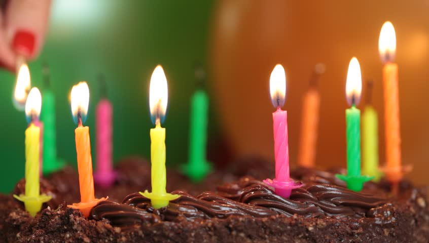 Candles on the birthday cake episode 4 - HD stock video clip