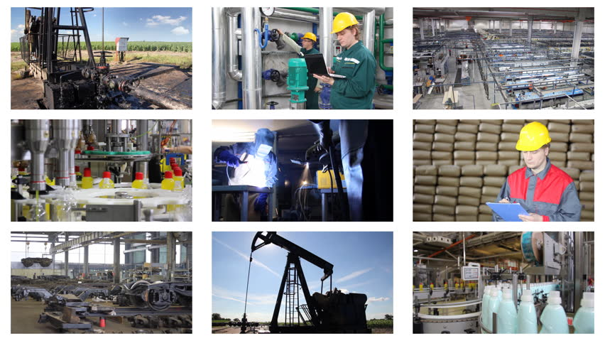 Industrial production, welder, metal industry, sugar factory, processing of corn, liquid detergent, bottling, quarry, oil pump, construction, grinding, production of rubber. Collage, timelapse - HD stock footage clip