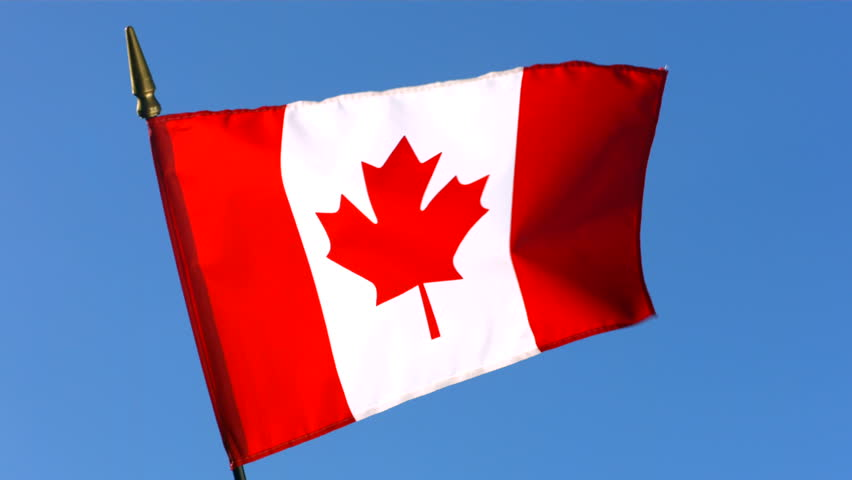 Canada Flag With Fabric Structure Against A Cloudy Sky (4K ...