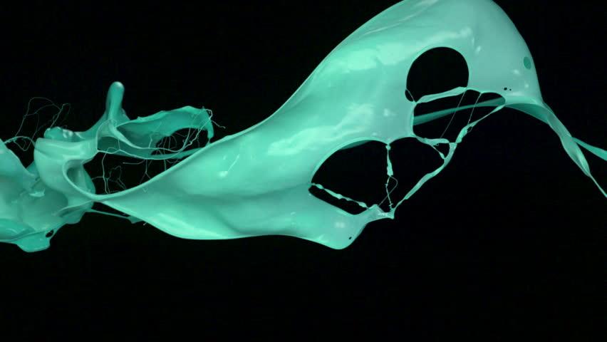 green paint splash in the air shooting with high speed camera, phantom flex.
