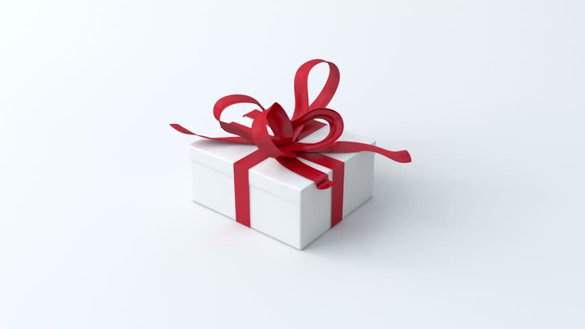 White low gift box with red ribbon opening. Include alpha and chroma channel  | Shutterstock HD Video #4642238