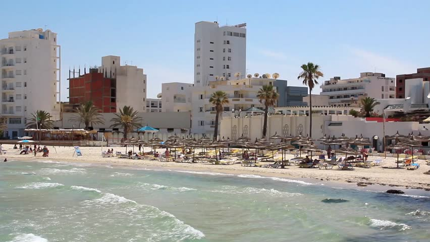 White buildings by beach in Sousse, Tunisia - HD stock footage clip