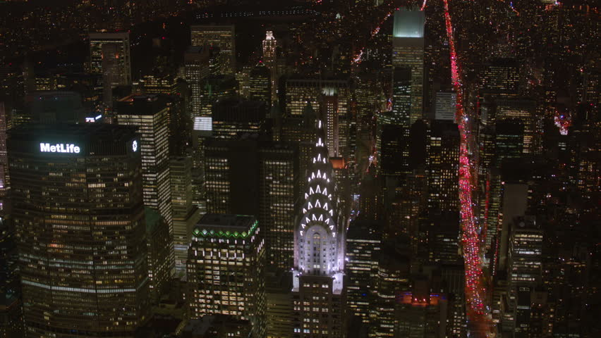 Aerial shot of New York and Chrysler Building at night