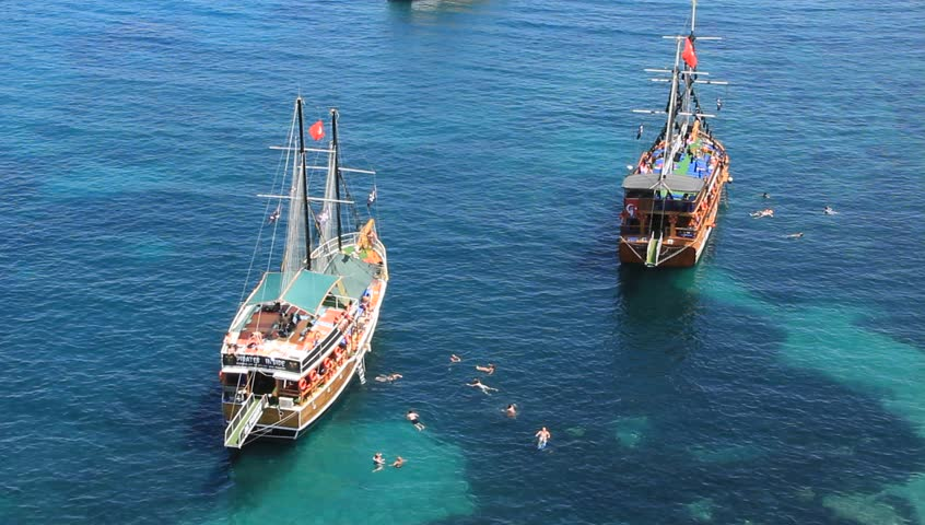 Voyage. Ships in the Mediterranean sea. Alanya, Turkey - HD stock footage clip