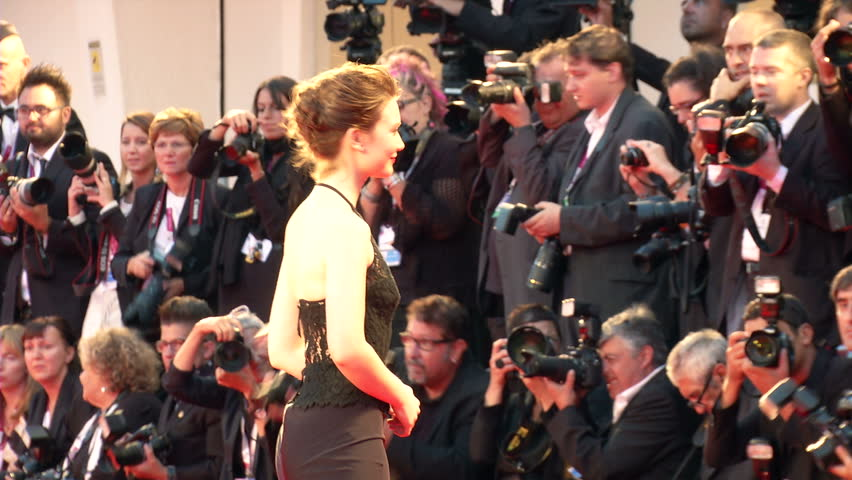 """VENICE - AUGUST 29: Australian actress Mia Wasikowska on the red carpet for the movie """"Tracks"""" during the 70th International Venice Film Festival on August 29, 2013 in Venice."""