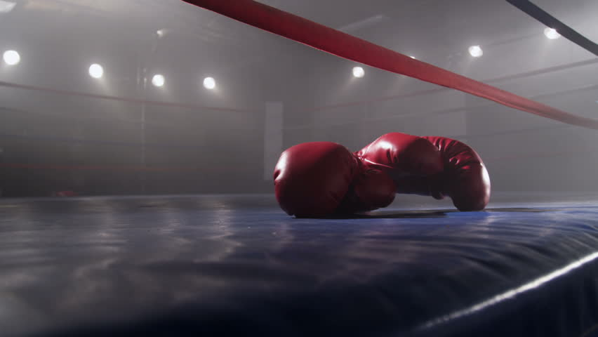 Boxing gloves laying in ring