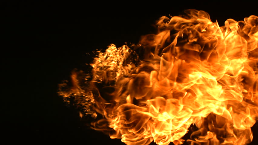 Slow motion shot fire ball explosion
