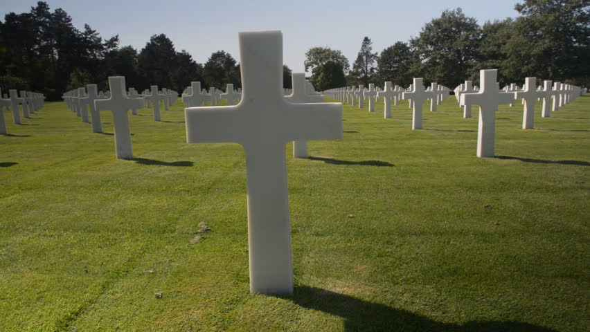 American war cemetery, France - HD stock footage clip