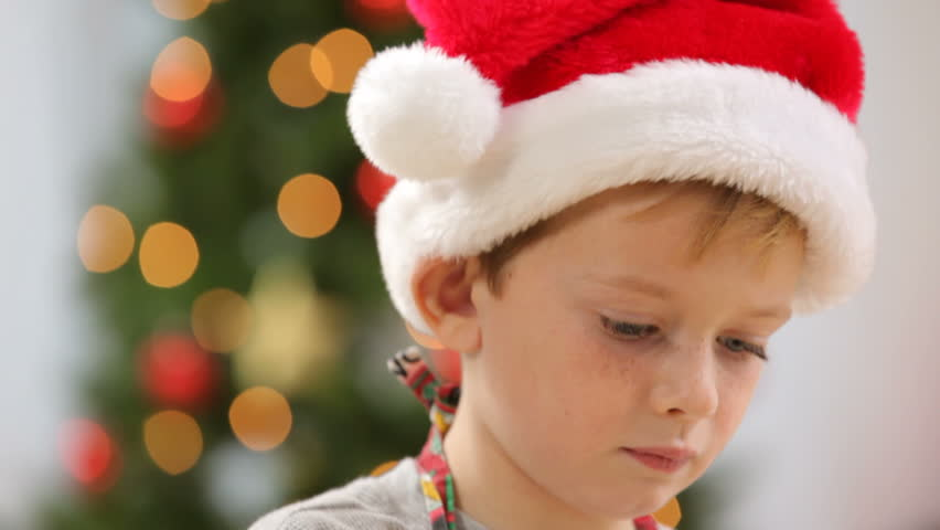 Portrait of young boy with Christmas Gingerbread House