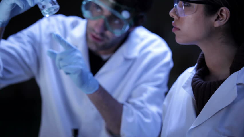 Students do research in a lab - HD stock video clip