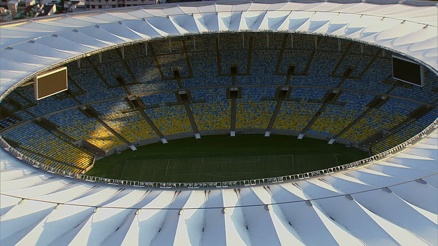 Closeup Aerial view of Maracana Stadium, Rio De Janeiro, Brazil