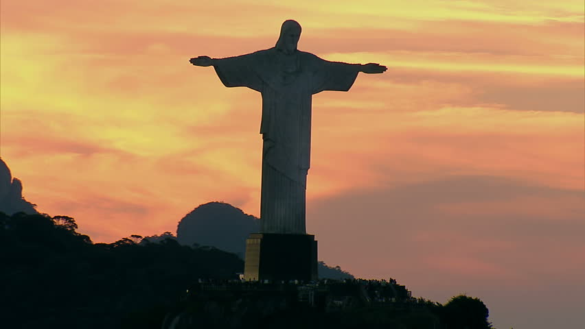 Aerial view of Christ the Redemeer Statue at Sunset, Rio de Janeiro, Brazil