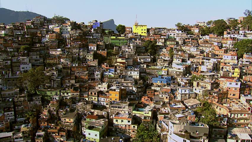 Aerial view of Rocinha, Brazil's largest favela, Rio de Janeiro, Brazil